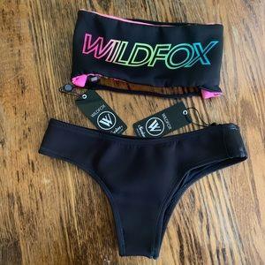 Wildfox Neon Logo Bikini Reversible Scuba Size XS